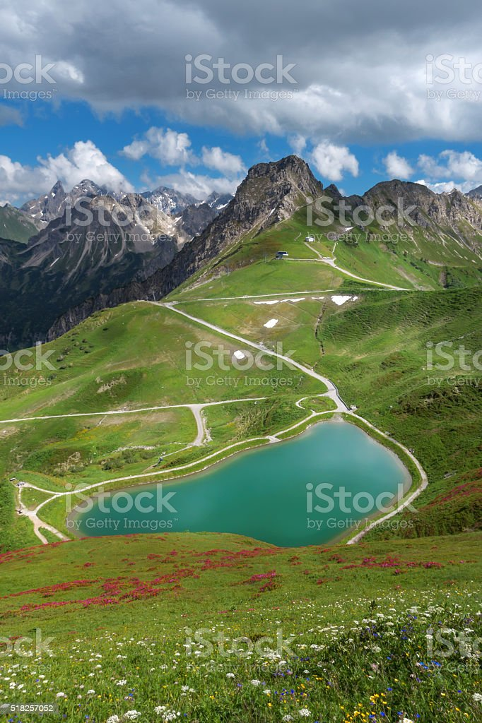 Summer at the lake Riezler Alpsee stock photo