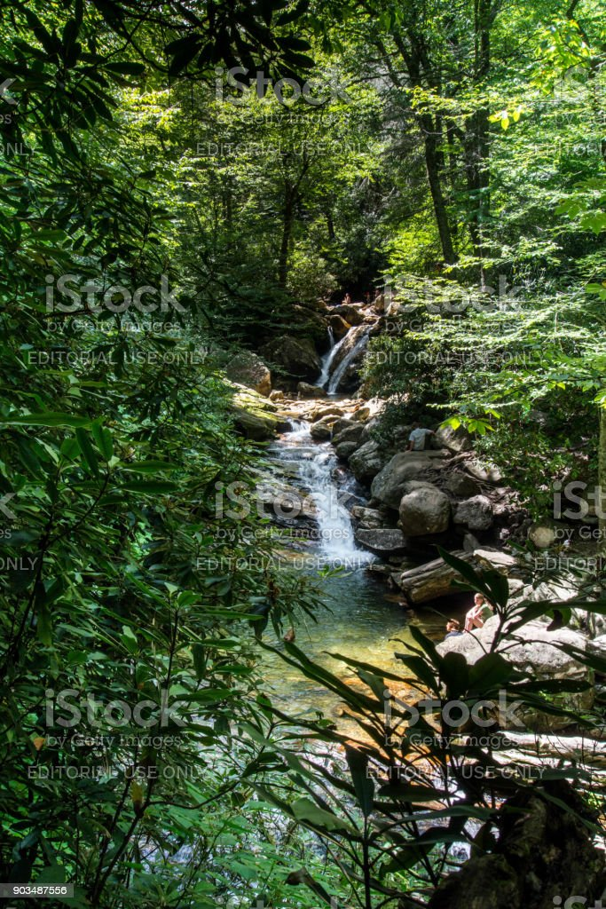 Summer at the waterfall stock photo