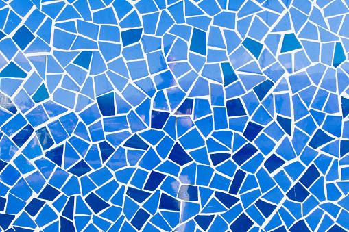 Summer atlantic ocean blue mosaic tiles wallpaper background texture.