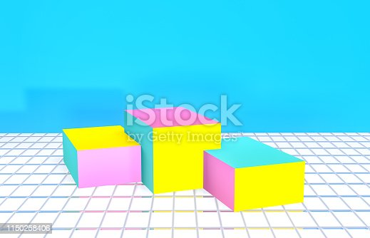 istock Summer backdrop for product display. Summer scene. Vivid color background. Memphis style. 1150258406