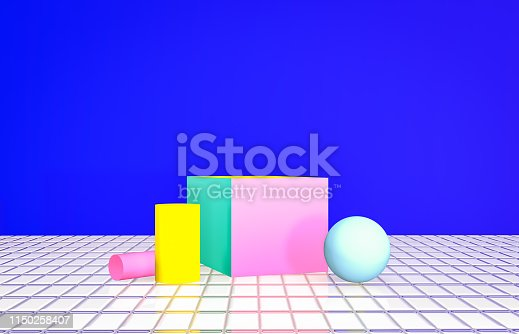 istock Summer backdrop for product display. Summer scene. Vivid color background. Memphis style. 1150258407