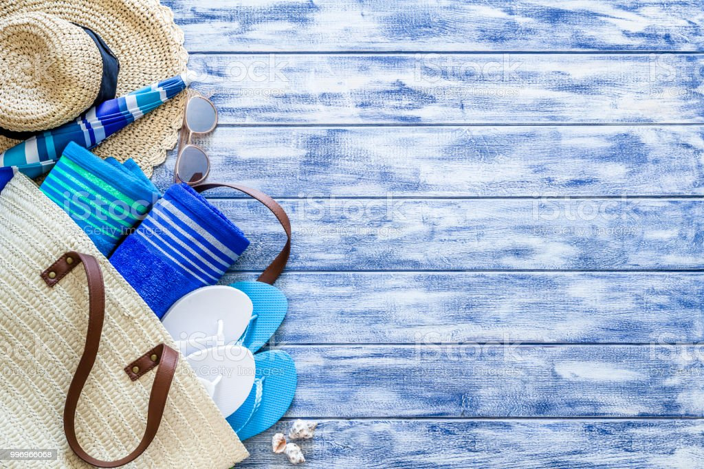 Summer background: Beach accesories with copy space stock photo