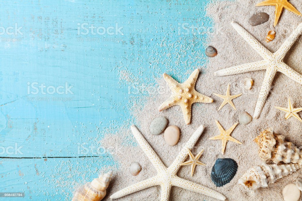 Summer background from seashell, starfish and sand on blue table top view. stock photo