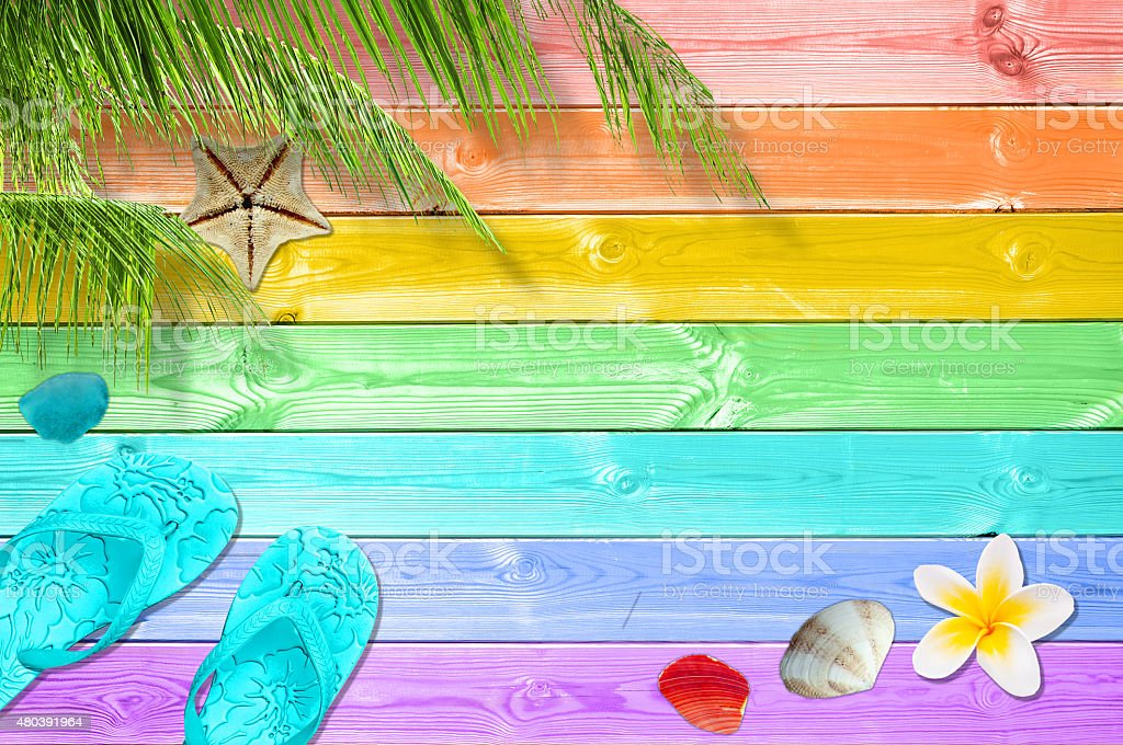 c847f7e10 Summer Background With Palm Trees Flip Flops And Sea Shells Stock ...