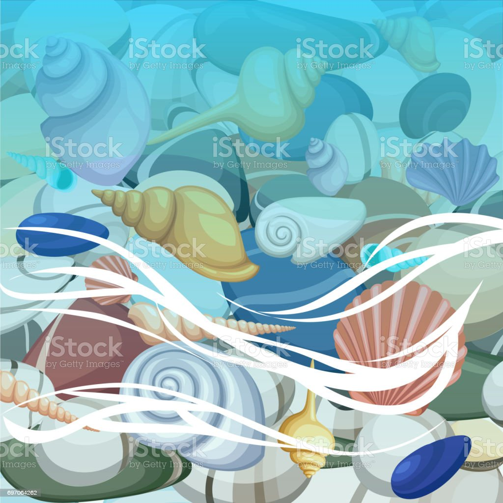 Summer background with tropical beach. Stones frame of sea shells waves foam Summer vacation, seashore resort, travel background. Vector illustration stock photo