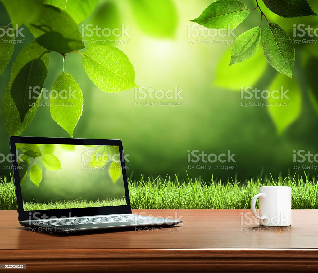 summer background with wooden table and notebook stock photo