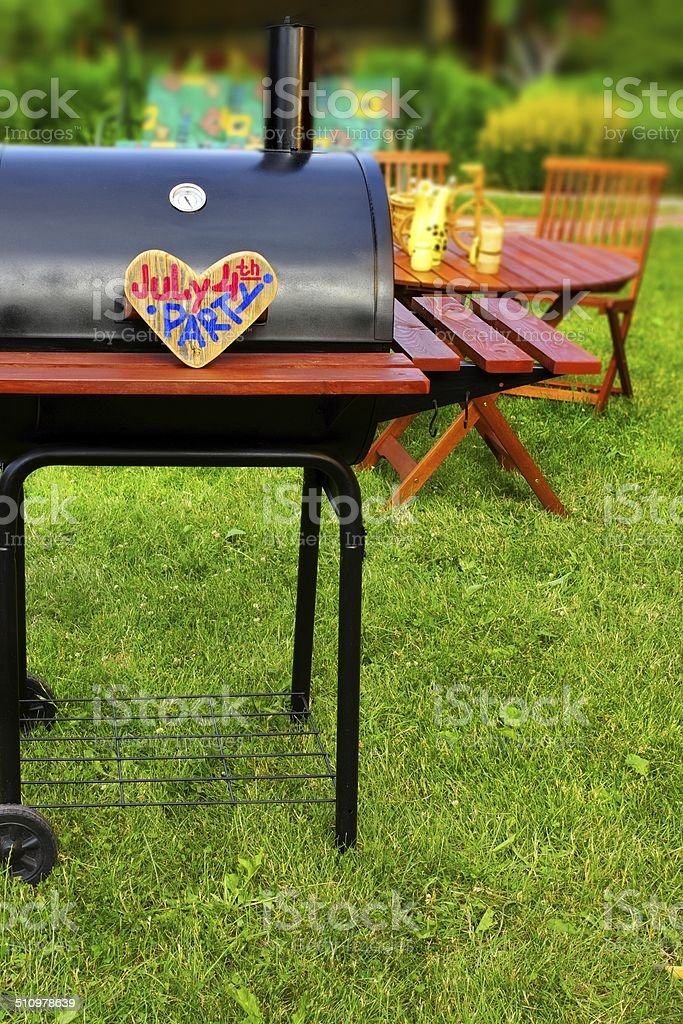 BBQ Summer Backyard Party Scene stock photo
