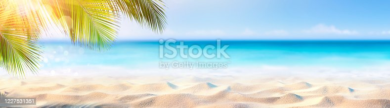Summer Banner - Sunny Sand With Palm Leaves In Tropical Beach