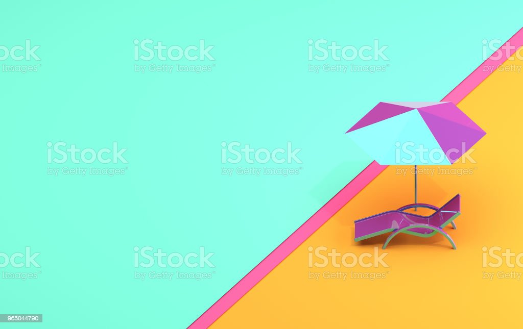 Summer banner with a chaise lounge and an umbrella in pastel colors zbiór zdjęć royalty-free