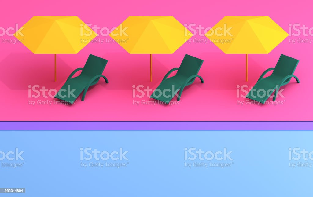 Summer banner with a chaise lounge and an umbrella in pastel colors royalty-free stock photo