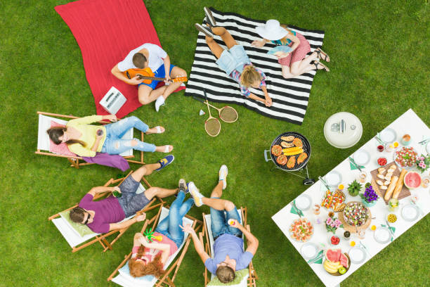 Summer barbecue party in backyard stock photo