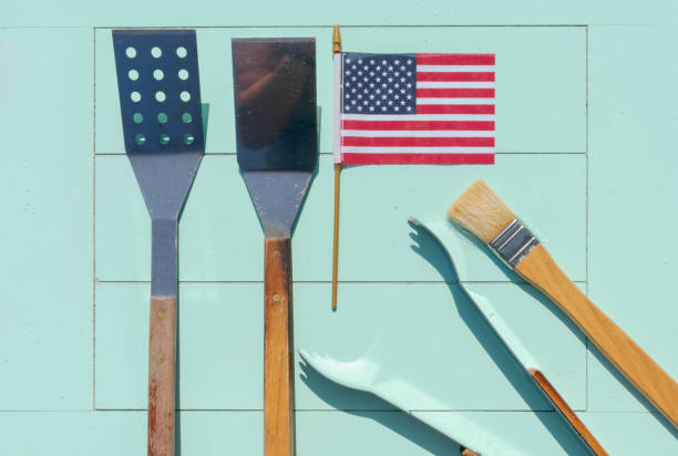 summer barbecue tools - memorial day weekend stock pictures, royalty-free photos & images