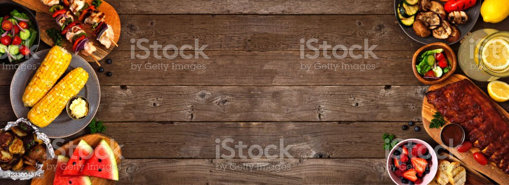Summer Bbq Or Picnic Food Double Side Border Over A Rustic Wood Banner Background Above View With Copy Space Stock Photo Download Image Now Istock