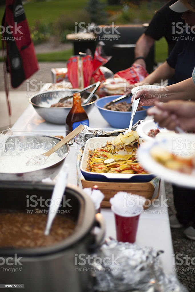 Summer BBQ Outdoor Buffet Line royalty-free stock photo