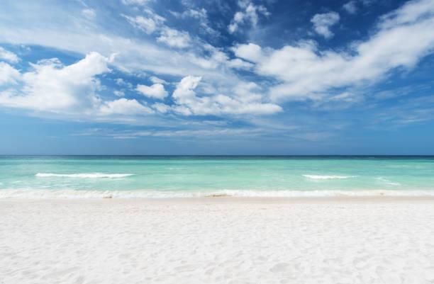 playa de verano y mar con fondo de cielo despejado - playa fotografías e imágenes de stock