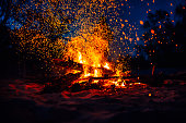 istock Summer beach bonfire with sparks flying around 1125476482