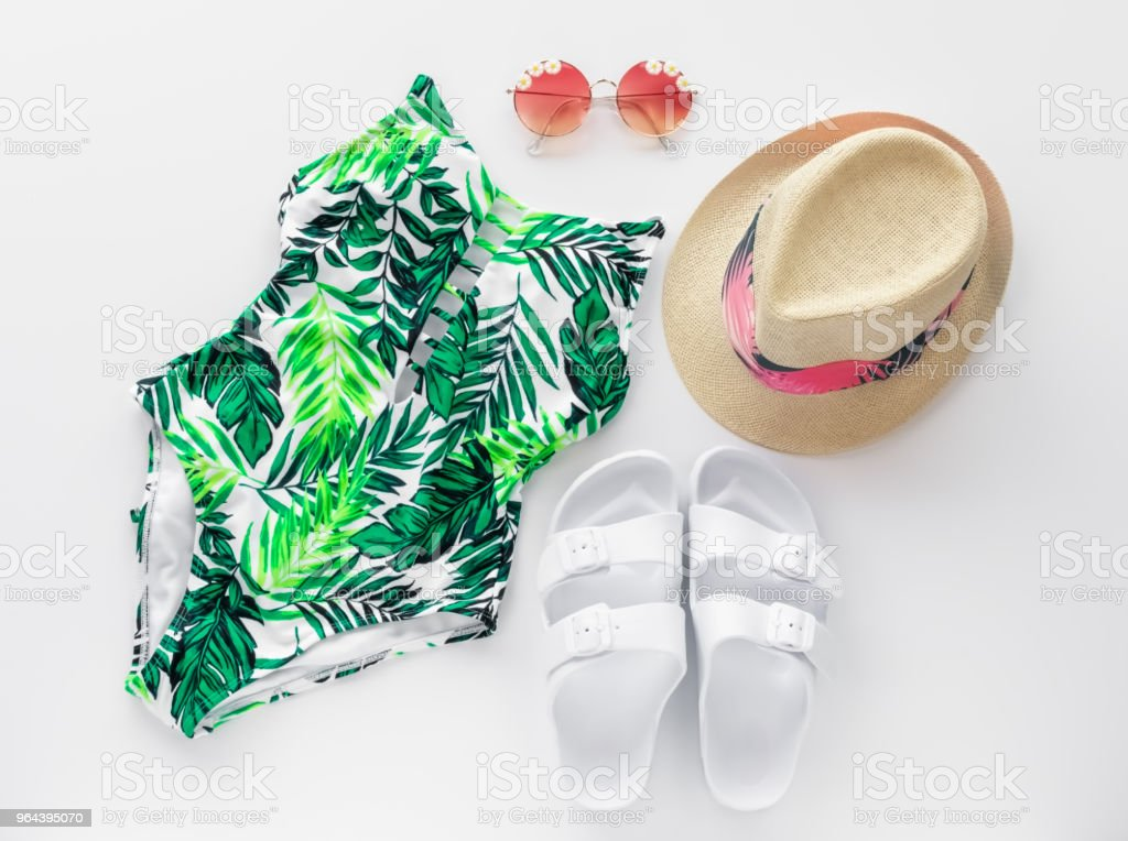 Zomer strand plat lag met zwemmen pak, zonnebril, hoed en Trendy sandalen - Royalty-free Asteroideae Stockfoto