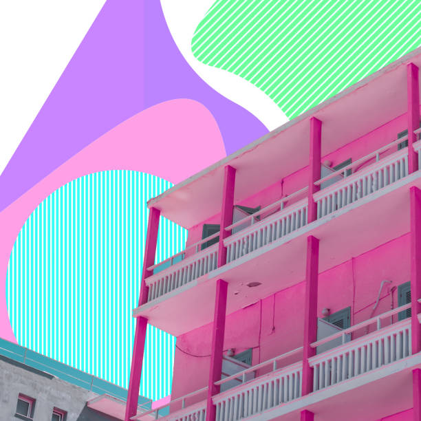 Summer beach hotel on psychedelic sky background in geometry style. Travel concept. Surreal art collage