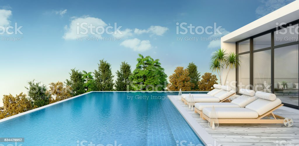 Summer ,beach lounge, sun loungers on Sunbathing deck and private swimming pooland  panoramic sea view at luxury villa/3d rendering royalty-free stock photo