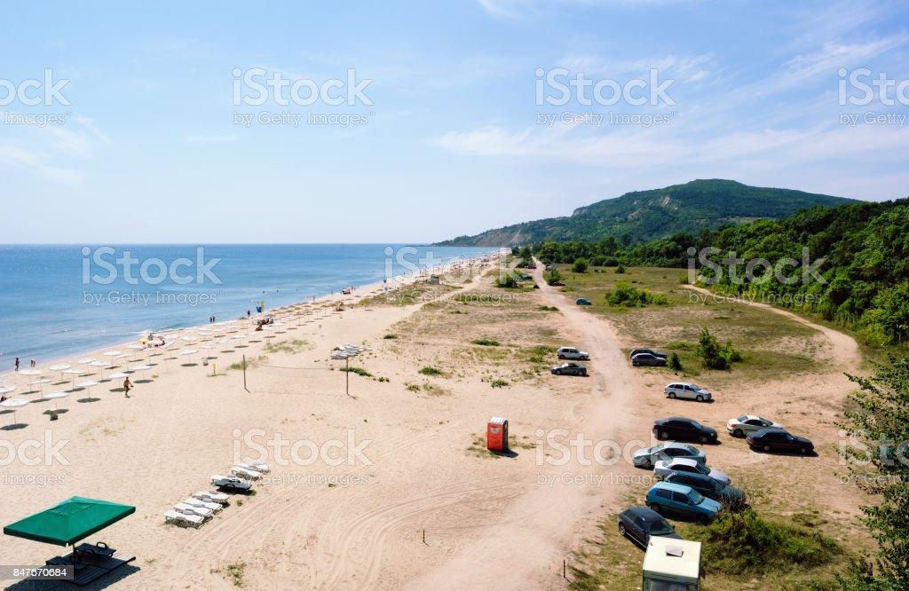 Summer Beach near Albena, Bulgaria stock photo