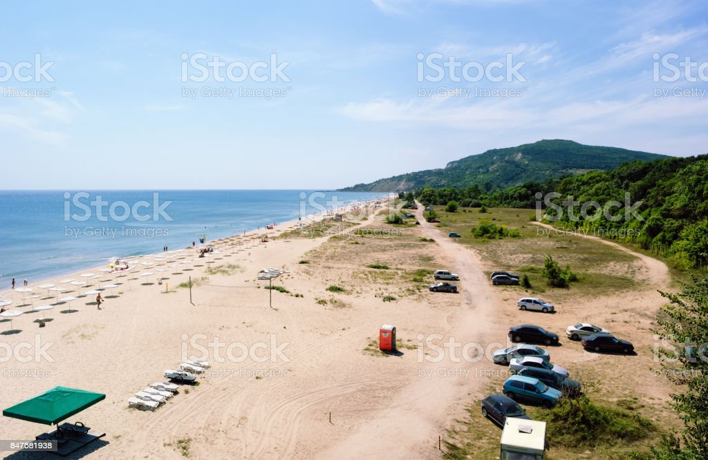 Summer Beach near Albena, Bulgaria stock photo