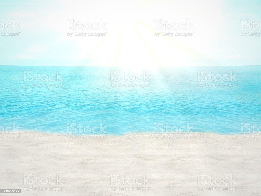 summer beach ocean blue sky 3d illustration photo royalty-free stock photo
