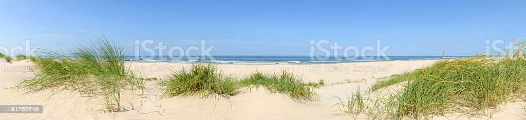 Summer beach panorama stock photo