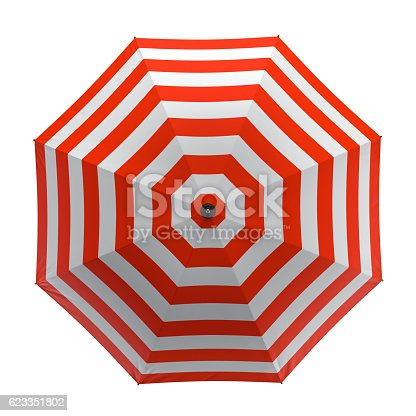 istock Summer beach red umbrella isolated on white background. 3D illustration . 623351802