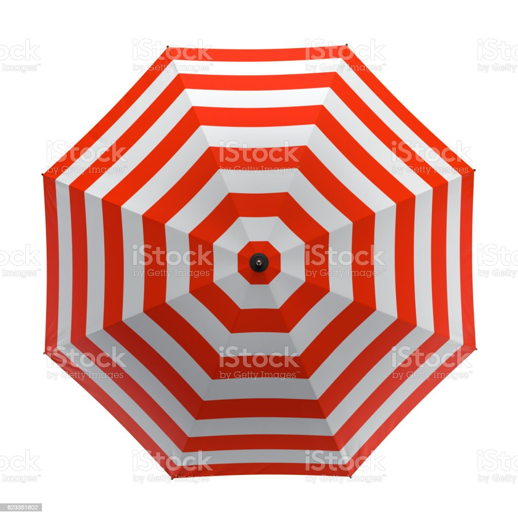 Summer beach red umbrella isolated on white background. 3D illustration . stock photo