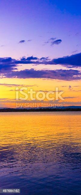 Summer beach sunset. Vertical panorama.
