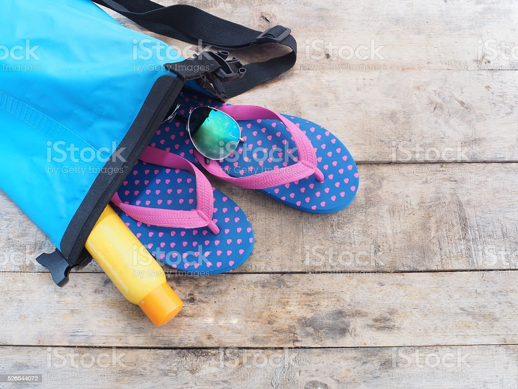 summer beach vacation accessories stock photo