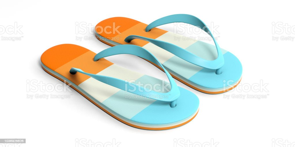 a0279b5157ad Summer beach vacation. Pastel flip flops isolated on white background. 3d  illustration royalty-