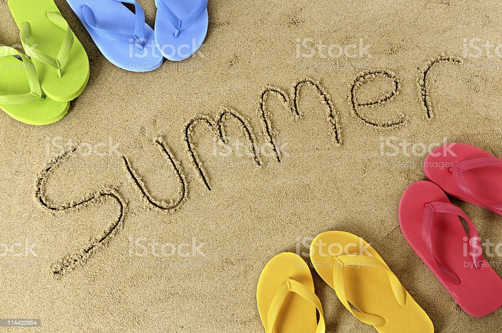 The word summer written in sand with selection of flip flops ....