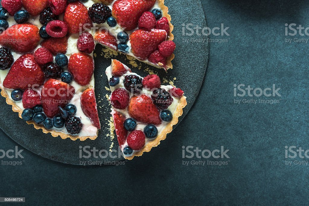 Summer berries tasty tart stock photo