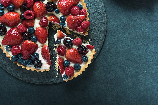 Summer berries tasty tart stock photo