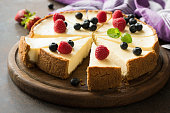 Summer berry cheesecake cut into slices