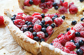 summer berry tart with custard cream, food