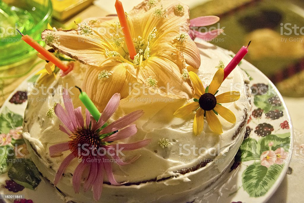 Wondrous Summer Birthday Cake With Flowers And Candles Stock Photo Personalised Birthday Cards Bromeletsinfo