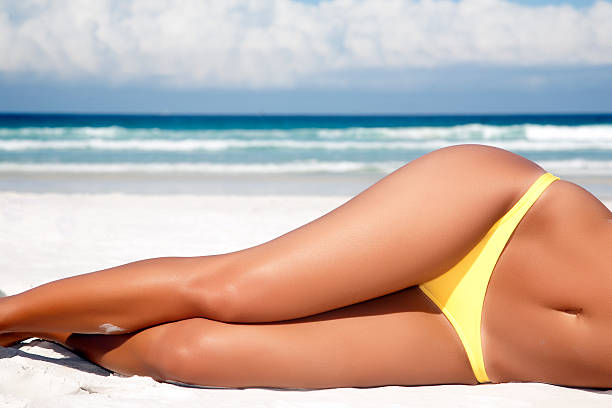 summer blue - curvy voluptuous women stock photos and pictures