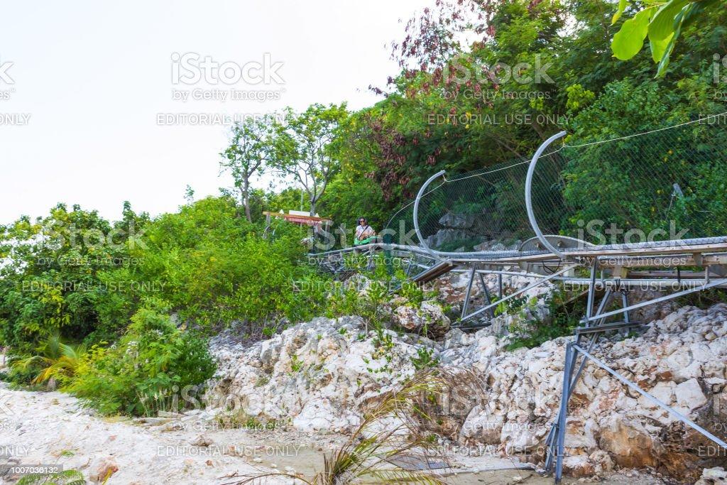 Summer bobsleigh track at Labadee island at Haiti at sunny day stock photo