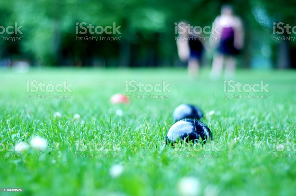 Summer bocce ball stock photo