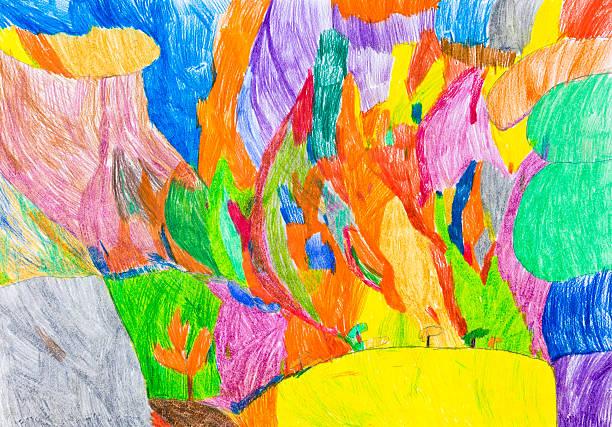 sommerbrise hill - naive malerei stock-fotos und bilder