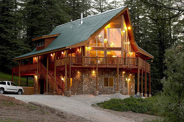 summer cabin (0625) - kütük ev stok fotoğraflar ve resimler