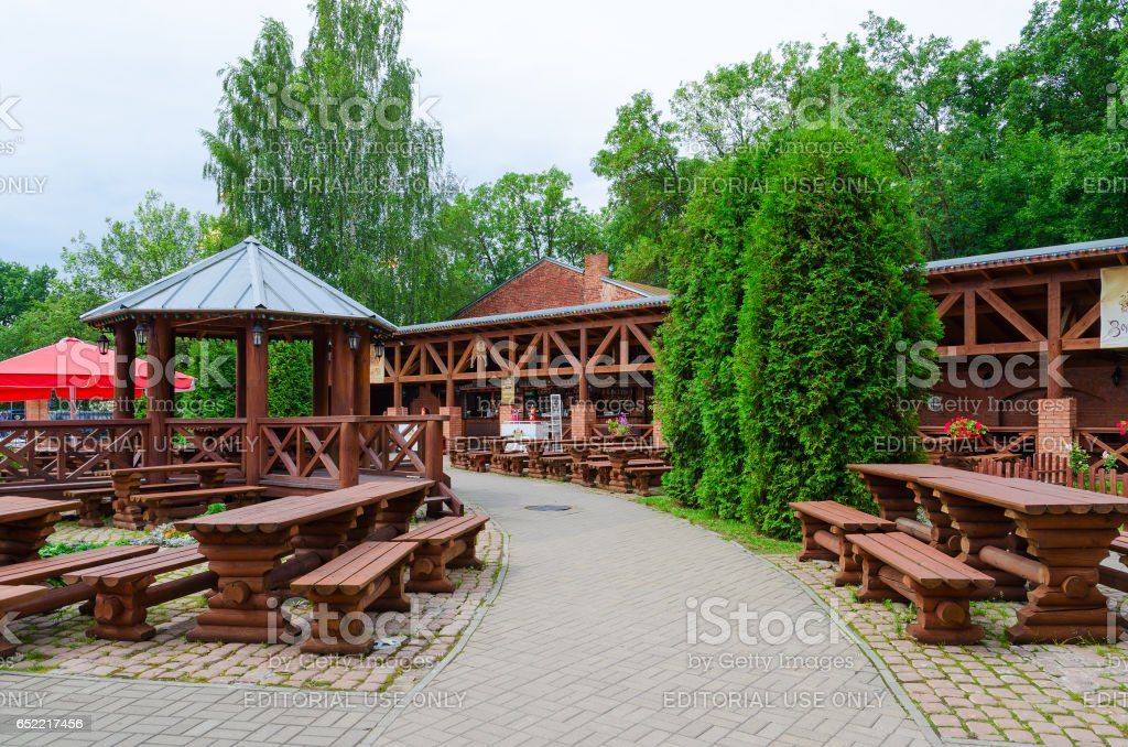 Summer cafe Yard at Golden Lion, Vitebsk, Belarus stock photo