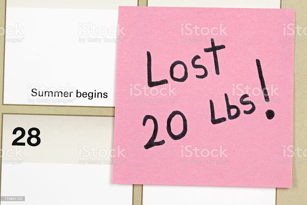 Summer Calender:  Weight Loss of Twenty Pounds royalty-free stock photo