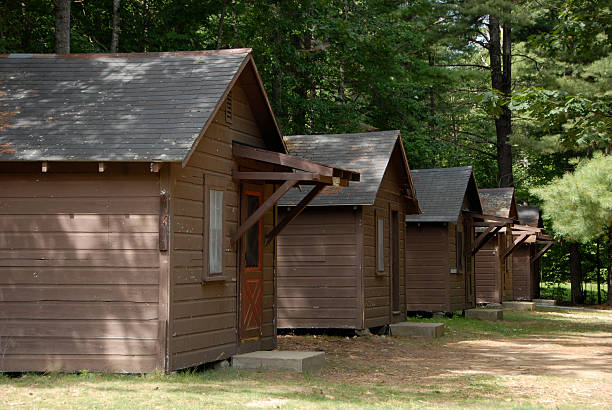 Summer Camp Cabins Camp Cabins in New Hampshire passenger cabin stock pictures, royalty-free photos & images