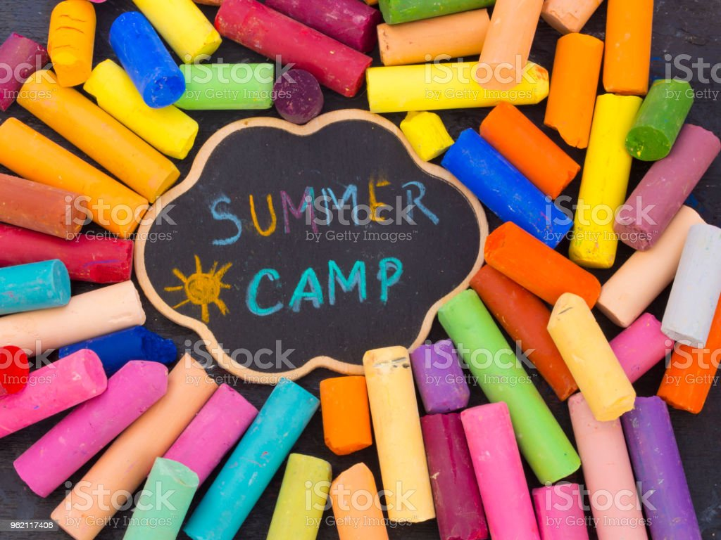 summer camp title stock photo
