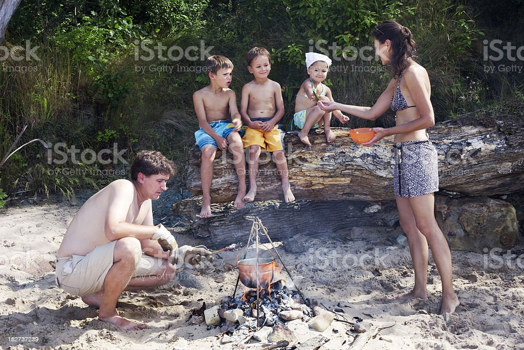 Summer camping on the beach royalty-free stock photo