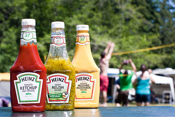 summer camping or bbq-ing - heinz stock photos and pictures