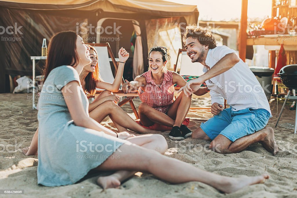 Summer camping stock photo